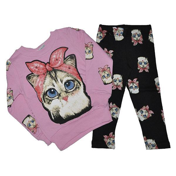 """Детский костюм """"Кошка"""", трикотажный,  для девочек 1-6 лет (5 ед в уп) на байке"""
