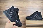 Мужские зимние кроссовки Adidas Jogger с мехом (черные), фото 8