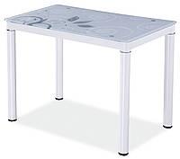 Стол кухонный стеклянный Damar белый 100x60x75см с металллическими ножками Signal Польша