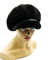 Женская норковая кепка 10-ть клинов ребром (чёрная).