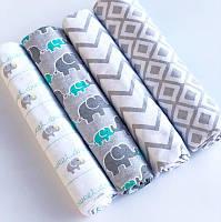 Пеленки для новорожденных Серые слоники 76*102