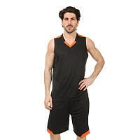 Форма баскетбольная мужская LD-8002-3 (PL, черный-оранжевый), фото 1