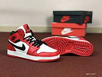 Женские кроссовки Nike Air Jordan 1 Retro (красно-черные)