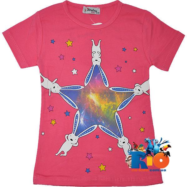 """Летняя футболка """"Rabbits Space"""" , трикотаж , для девочек от 5-8 лет (4 ед. в уп.)"""