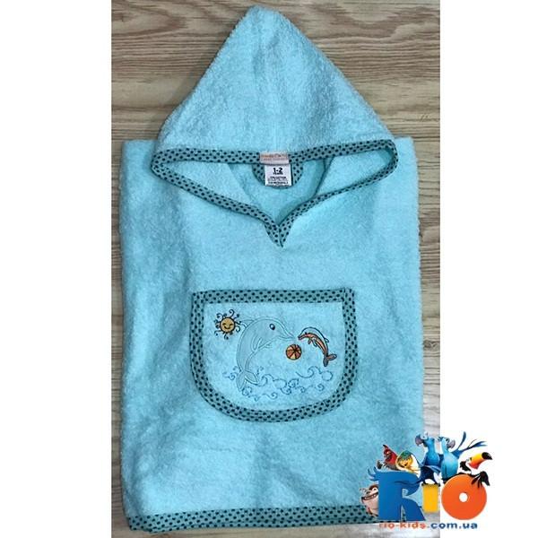 Полотенце с капюшоном для купания, махра (90% cotton, 10% micropoly), размер 1-2, 2-3, 3-4 года (3 ед в уп), Голубой
