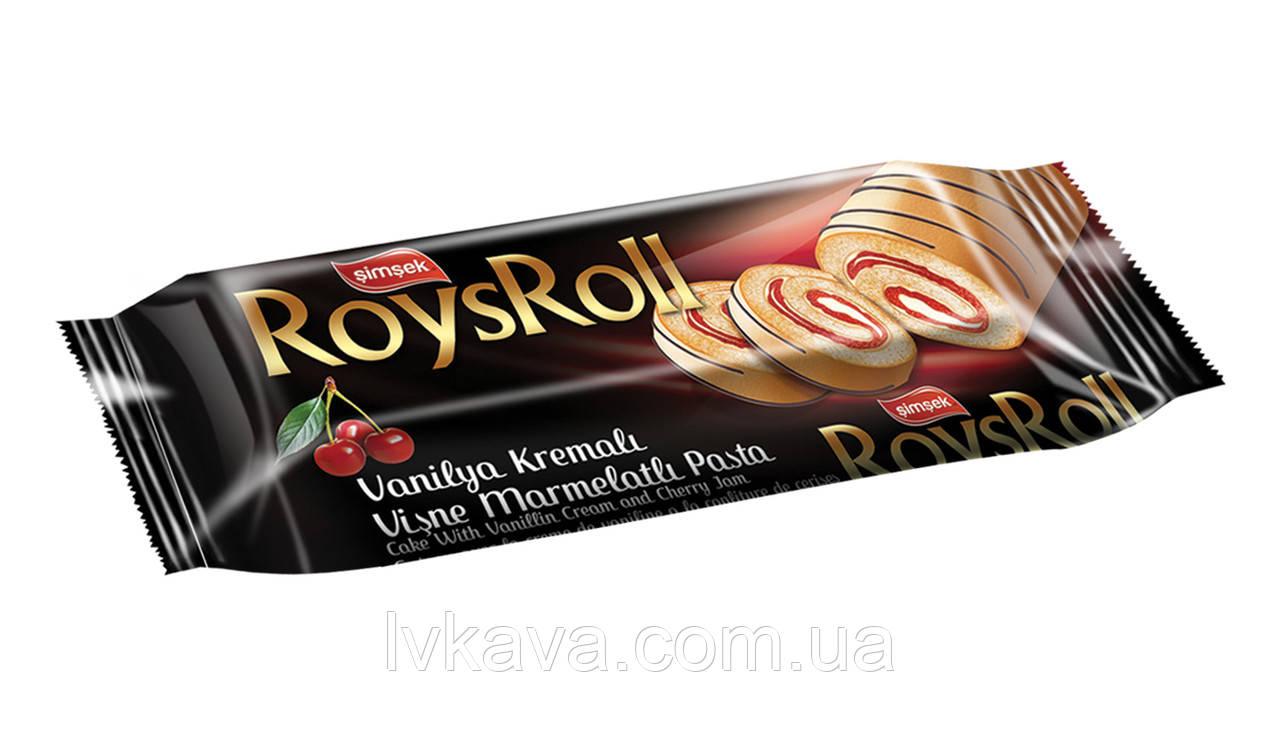 Бисквит  Roys Roll с ванильным кремом и вишневым джемом Simsek , 85 гр