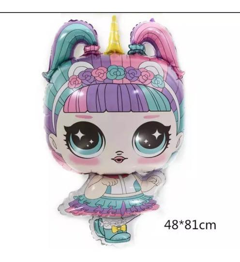 Шар фигурный  фольгированный  Кукла Лол( Единорог )  81х48
