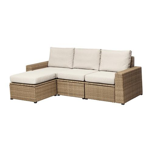 IKEA SOLLERÖN 3-местный садовый диван + пуф д/ног, коричневый, Frösön / Duvholmen бежевый, 223x145x88 см, (192.526.82)