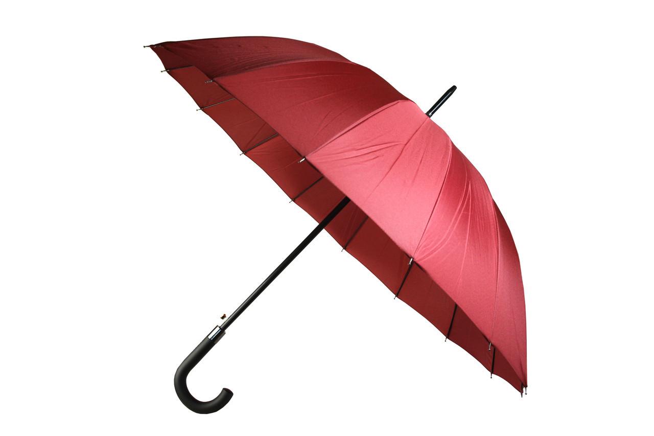 Качественный женский однотонный бордовый зонт трость полуавтомат на 16 спиц MAX Komfort