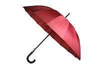 Качественный женский однотонный бордовый зонт трость полуавтомат на 16 спиц MAX Komfort, фото 1