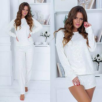 Теплая белая пижама (р.42-46,46-48) флис