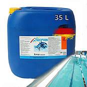 Немецкий гипохлорит натрия А Delphin 35 литров. Жидкий хлор для бассейнов в канистрах