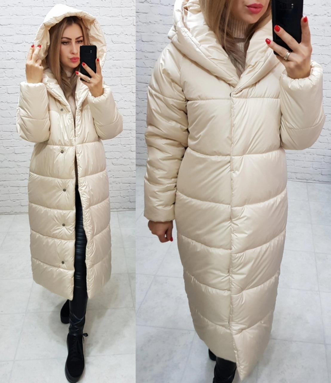 Куртка зимняя длинная очень теплая с капюшоном арт. 521 топлёное молоко