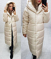Куртка зимняя длинная очень теплая с капюшоном арт. 521 топлёное молоко, фото 1