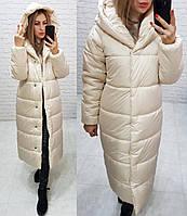 Куртка зимова довга дуже тепла з каптуром арт. 521 пряжене молоко, фото 1