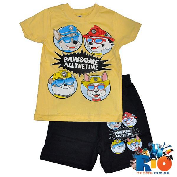 Летний костюм (футболка, шорты), трикотаж, для мальчика ростом 104-128 см (5 ед в уп)