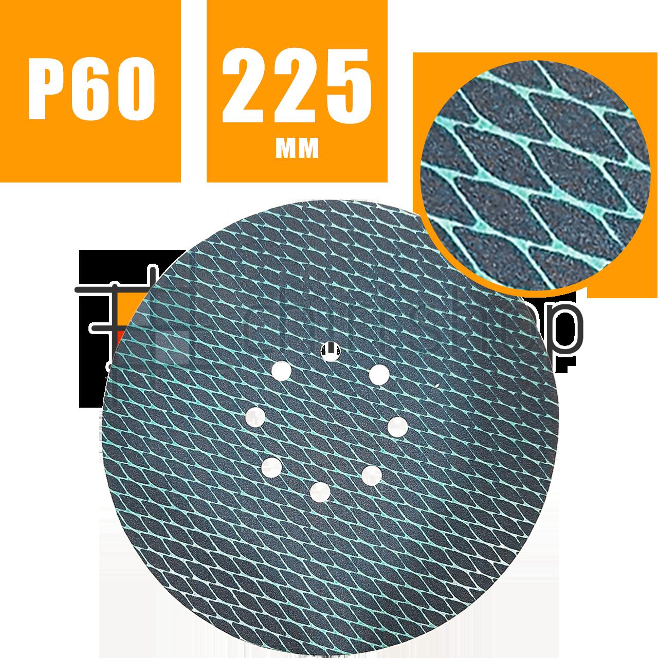Шлифовальный круг 225 мм ромбовидный, наждачный круг на липучке с отверстиями, наждачка для шлифмашины жираф