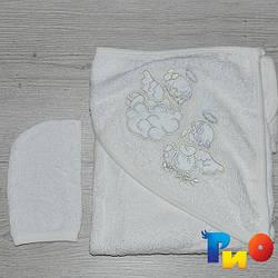 Полотенце с капюшоном для купания и варежка, махра, размер 80х75 см (мин заказ 1 ед)