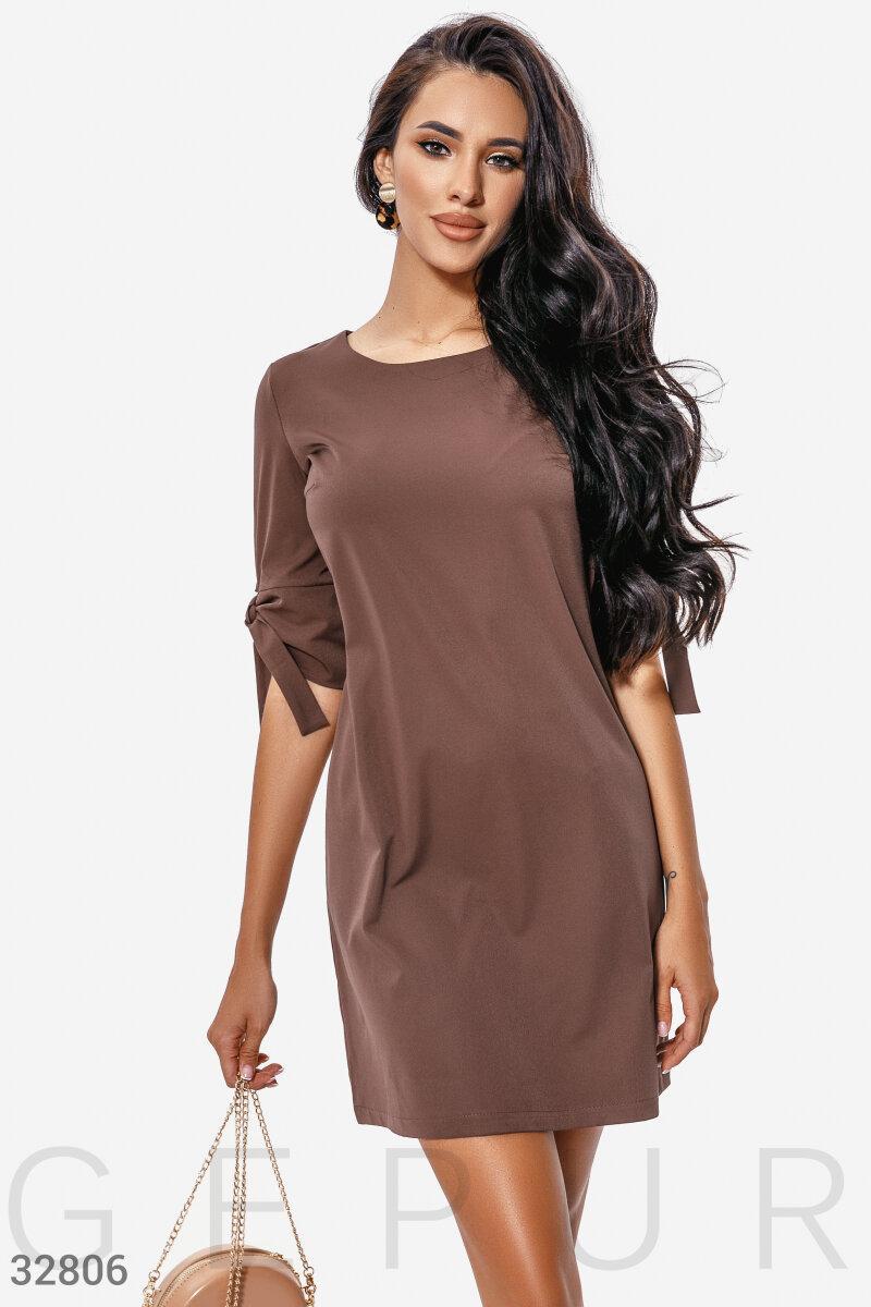 Короткое платье свободного кроя шоколадное