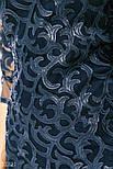 Приталенное платье-сетка с узорами из эко-кожи темно-синее, фото 2