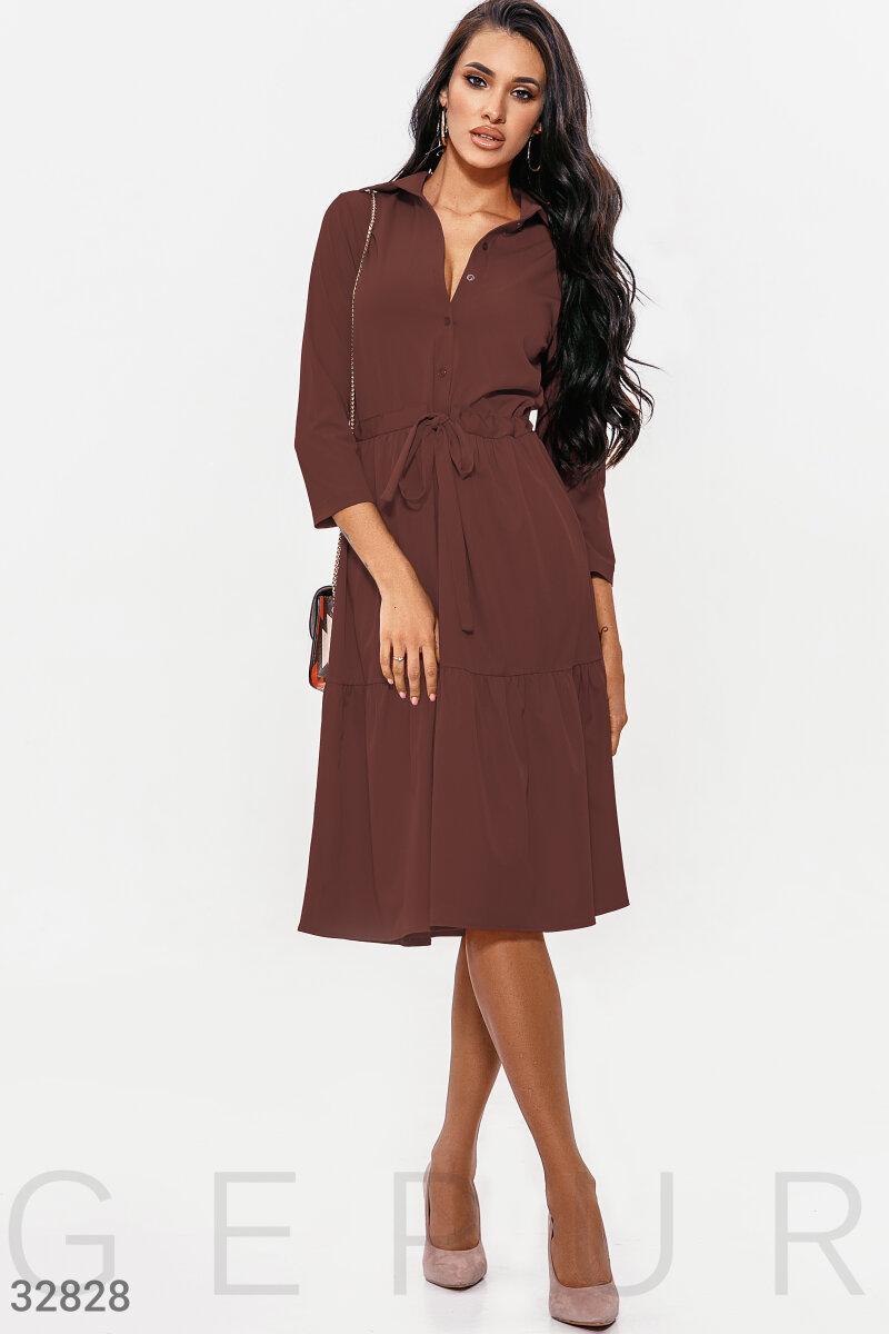 Платье-рубашка длины миди шоколадное