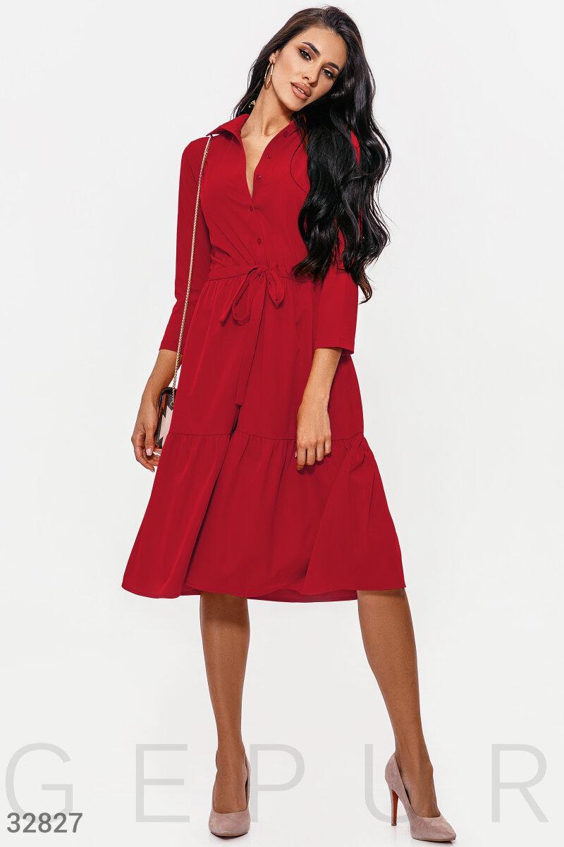 Платье-рубашка длины миди красное