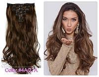 Волосы ТЕРМО на заколках 7 прядей длина 55см №4/27 каштановый с карамельным отливом