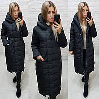 Пальто зимнее с поясом, артикул 032, цвет чёрный