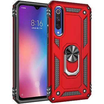 Ударопрочный чехол Serge Ring магнитный держатель для Xiaomi Mi 9 SE Красный