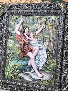 Винтажная объёмная картина влюблённых с кованой рамкой