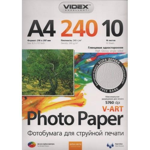 Фотобумага Videx А4 глянцевая, 240 г/м2, 10 л, кора дерева