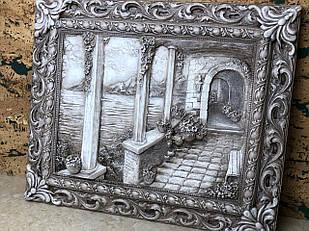 Картина винтажная объёмная черно-белая с кованой рамкой