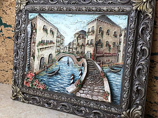 Об'ємна вінтажна картина міста з кованої рамкою