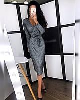 Платье с напылением верх на запах и длина миди 2003255