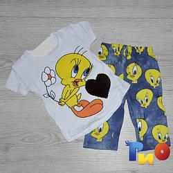 Летний костюм (футболка , лосины) , с паетками,  для девочки (4-7 года) (4 ед. в уп.)