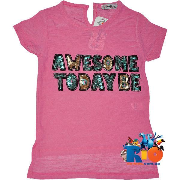 """Летняя футболка с вышивкой """"Awesome"""" , для девочек от 4-8 лет (4 ед. в уп.)"""