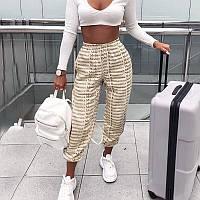Трикотажные женские принтованные штаны на манжетах 6512388, фото 1