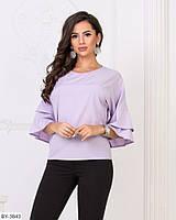 Стильная блуза волан размеры 50-56 арт 1577/1