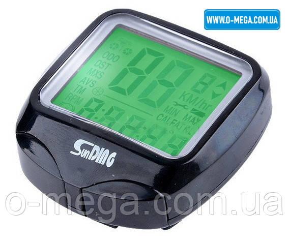 Велокомп'ютер провідний SunDing SD-568 спідометр, годинник, підсвічування екрану, термометр, калорії