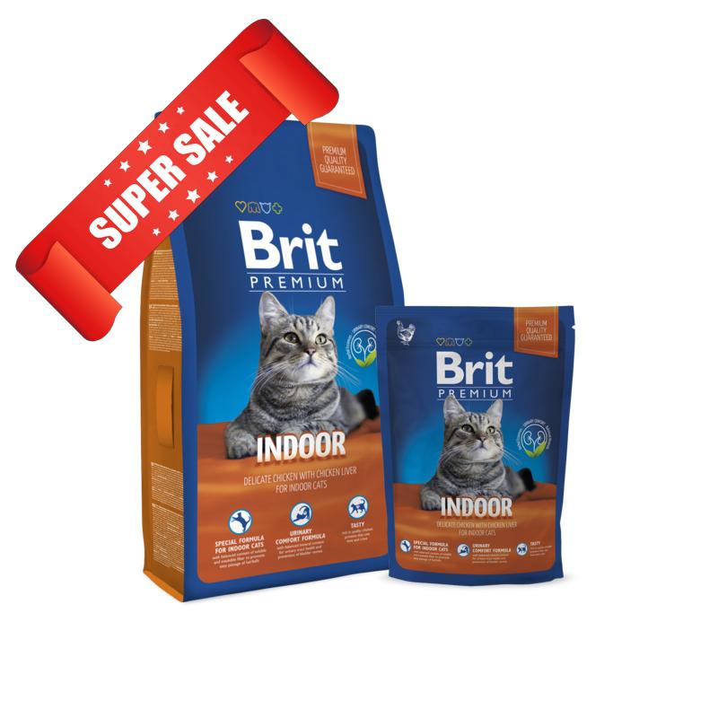 Сухой корм для котов Brit Premium Cat Indoor 1,5 кг
