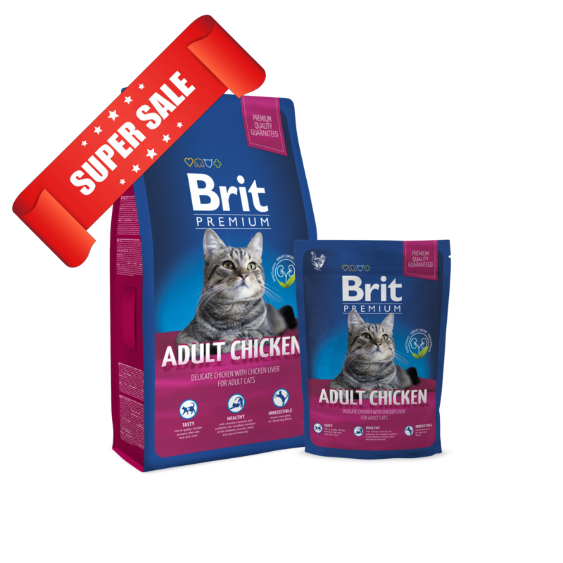 Сухой корм для котов Brit Premium Cat Adult Chicken 0,8 кг