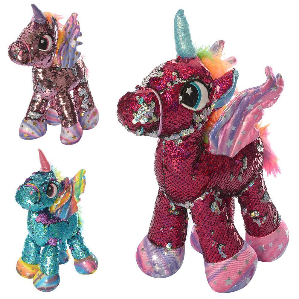 Лошадь единорог, 29см, пайетки, 3цв, в кульке