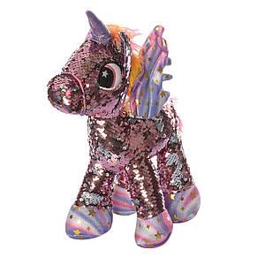 Лошадь единорог, 29см, пайетки, 3цв, в кульке, фото 3