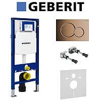 Инсталляция Geberit Duofix в комплекте с бронзовой клавишей Sigma 115.770.DT.5, фото 1