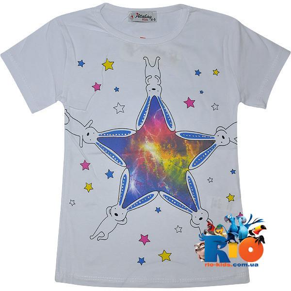 """Летняя футболка """"Rabbits Space"""" , из трикотажа , для девочки от 9-12 лет (4 ед. в уп.)"""
