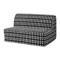 IKEA ЛИКСЕЛЕ ЛЁВОС Диван-кровать 2-местный, Эббарп черный/белый, (391.498.92)