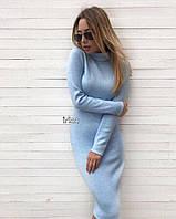 Женское зимнее теплое платье под горло ангора голубое чёрное красное бордо бутылка беж графит 42-46