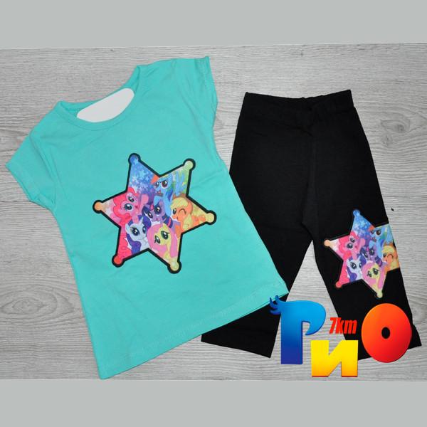"""Летний костюм """"Звезда"""" (футболка и бриджи), трикотаж, для девочек 1-8 лет (86-128 см) (4 ед в уп), Бирюзовый"""