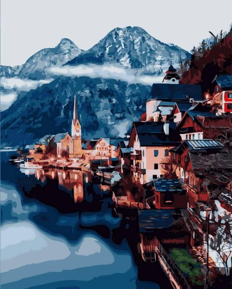 Картина по Номерам 40x50 см. Альпийская деревня Rainbow Art