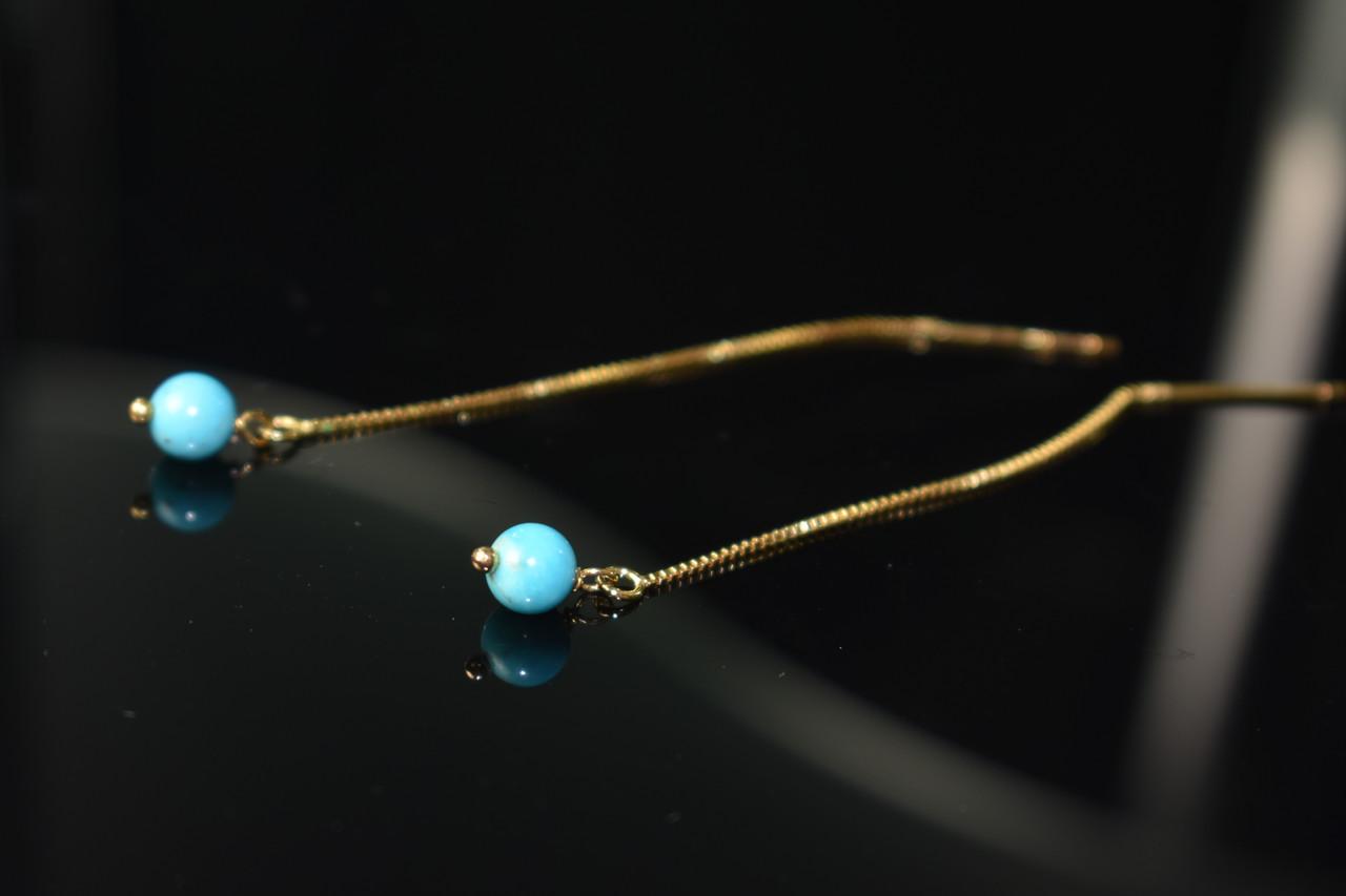 Серебряные серьги-протяжки (продевки) в позолоте с Бирюзой